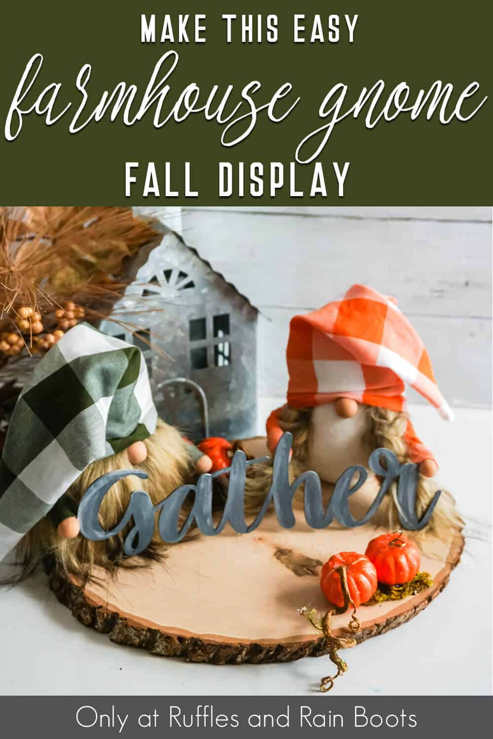 fall gnome pattern for sock gnomes with text which reads make this easy farmhouse gnome fall display
