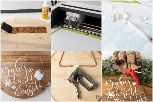 photo collage tutorial of how to make a winter wood sign for the holidays