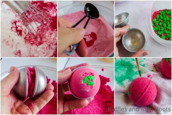 photo collage tutorial of how to make holly bath bombs