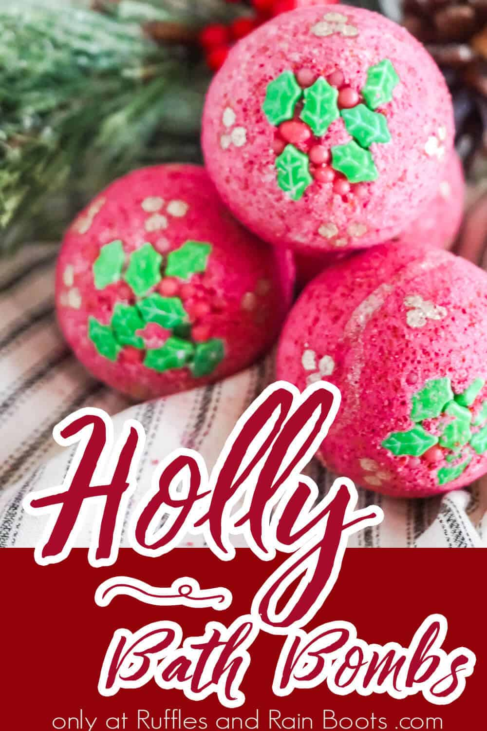 easy diy bath bomb recipe with text which reads holly bath bombs