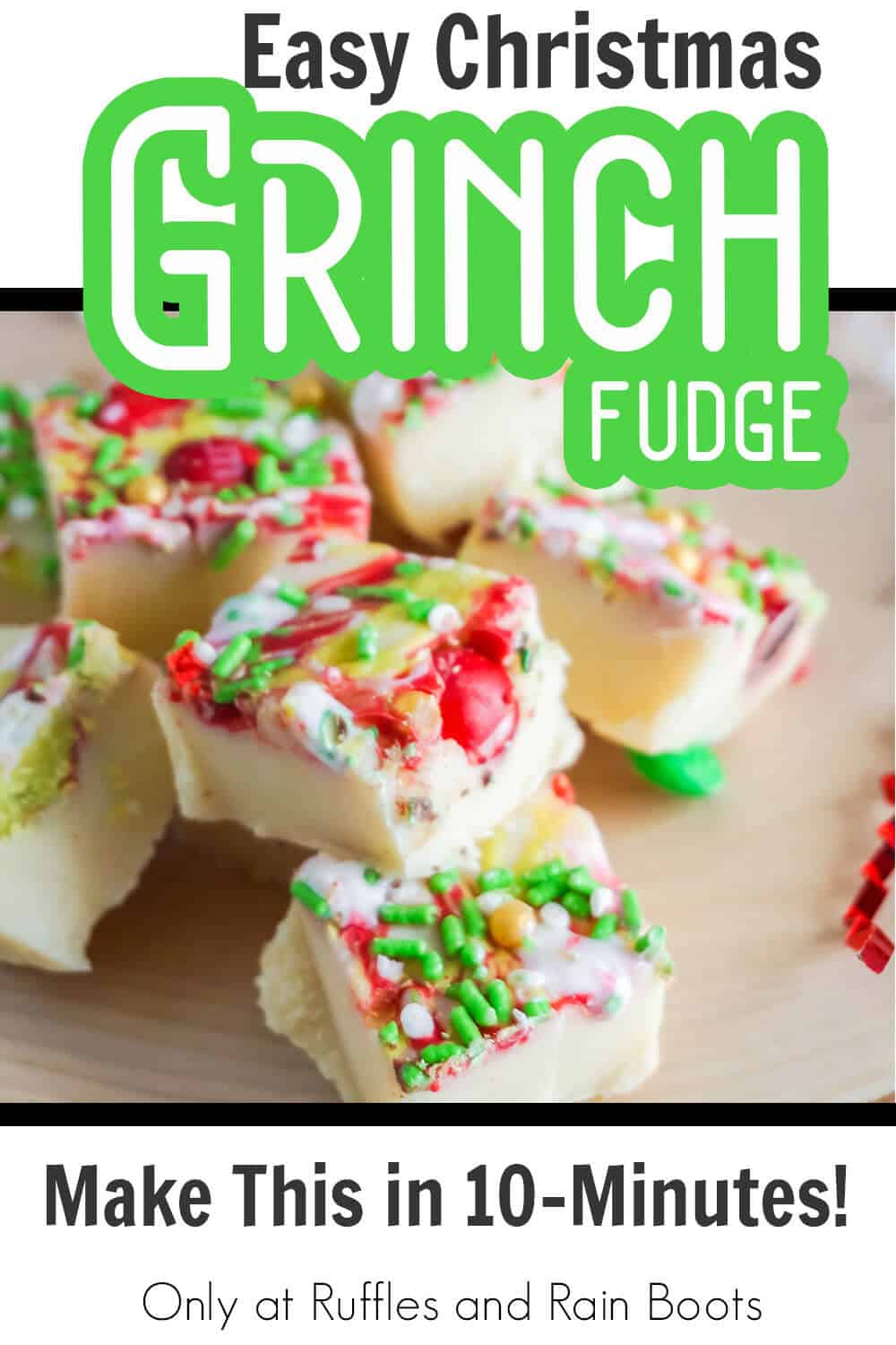 closeup of grinch food recipe for fudge with text which reads easy christmas grinch fudge