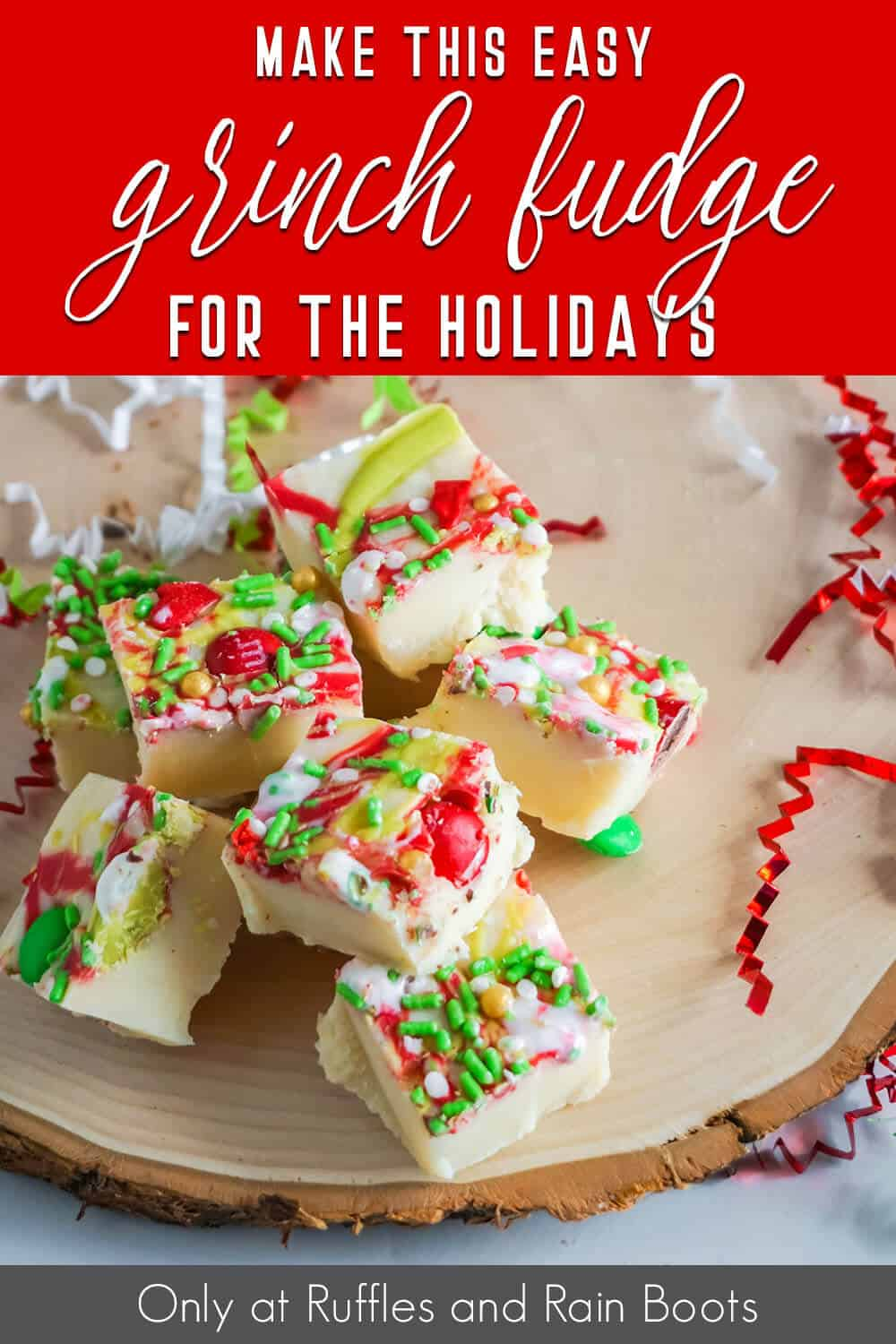 grinch movie night fudge recipe with text which reads make this easy grinch fudge for the holidays