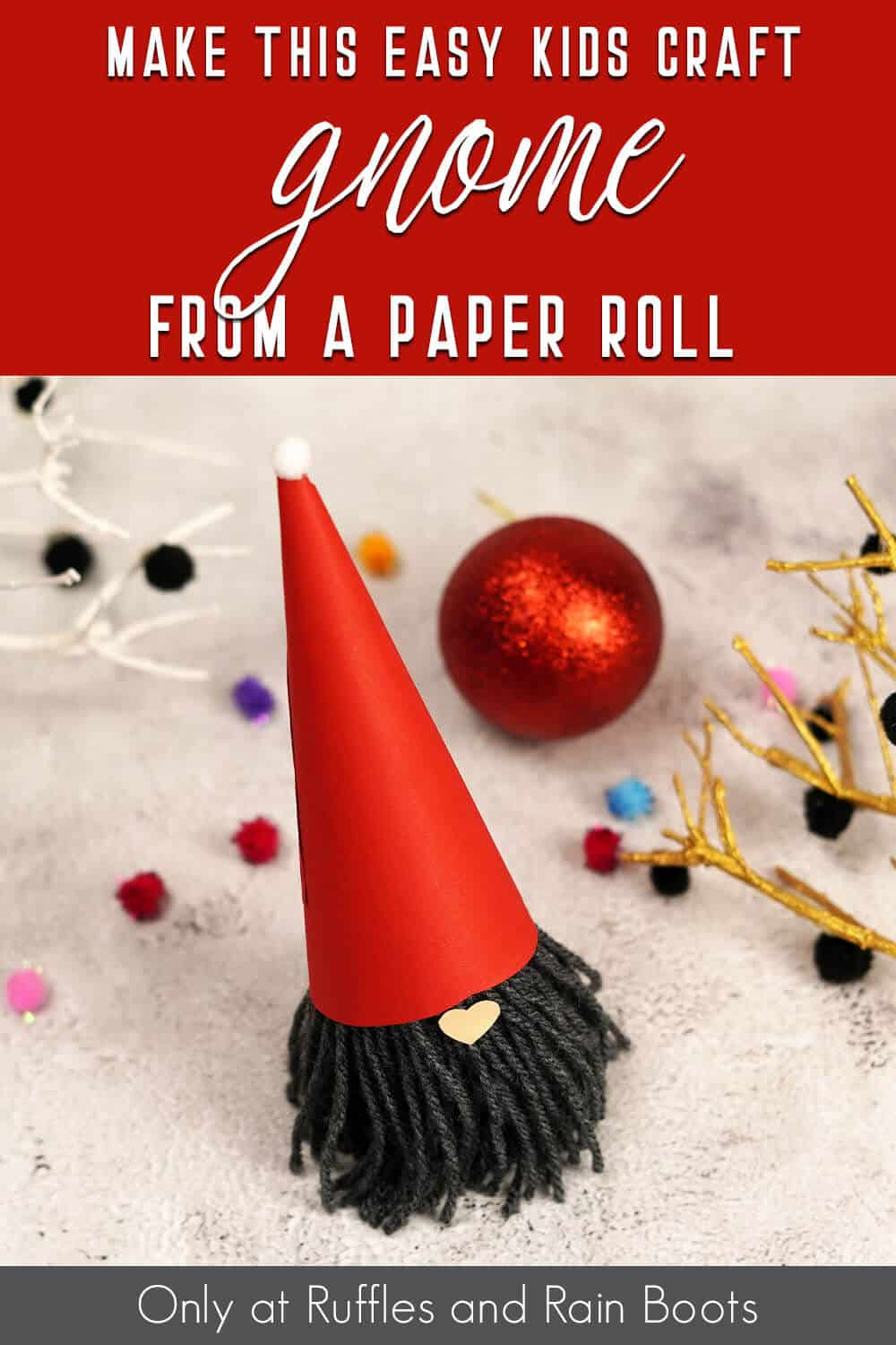 kids paper craft gnome with text which reads make this easy kids craft gnome from a paper roll