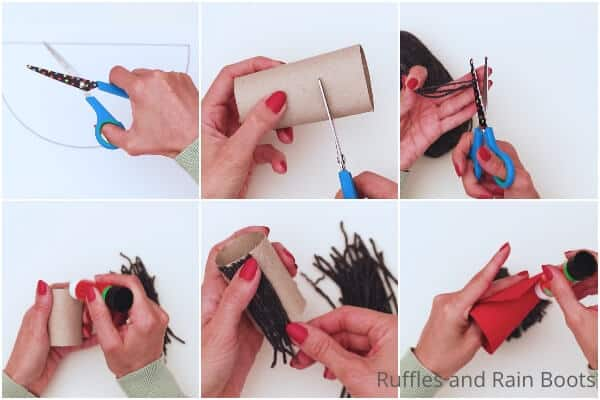 photo collage tutorial of how to make a paper tube gnome