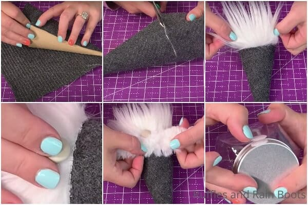 photo collage tutorial of how to make a gnome treat jar topper