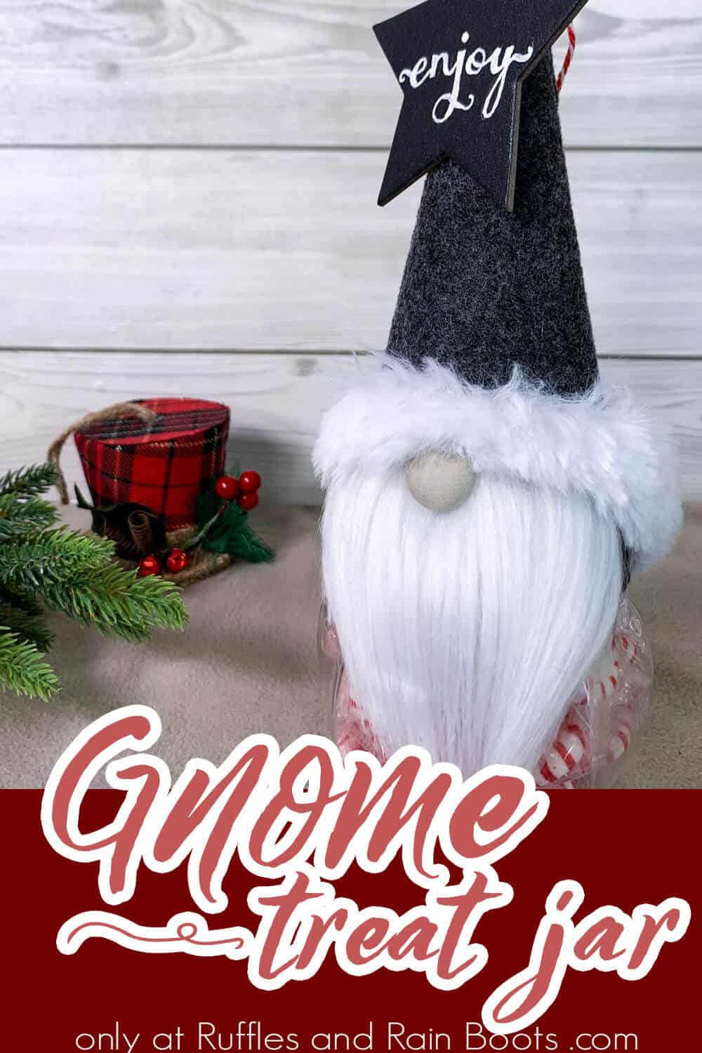 easy diy gnome treat jar craft with text which reads gnome treat jar