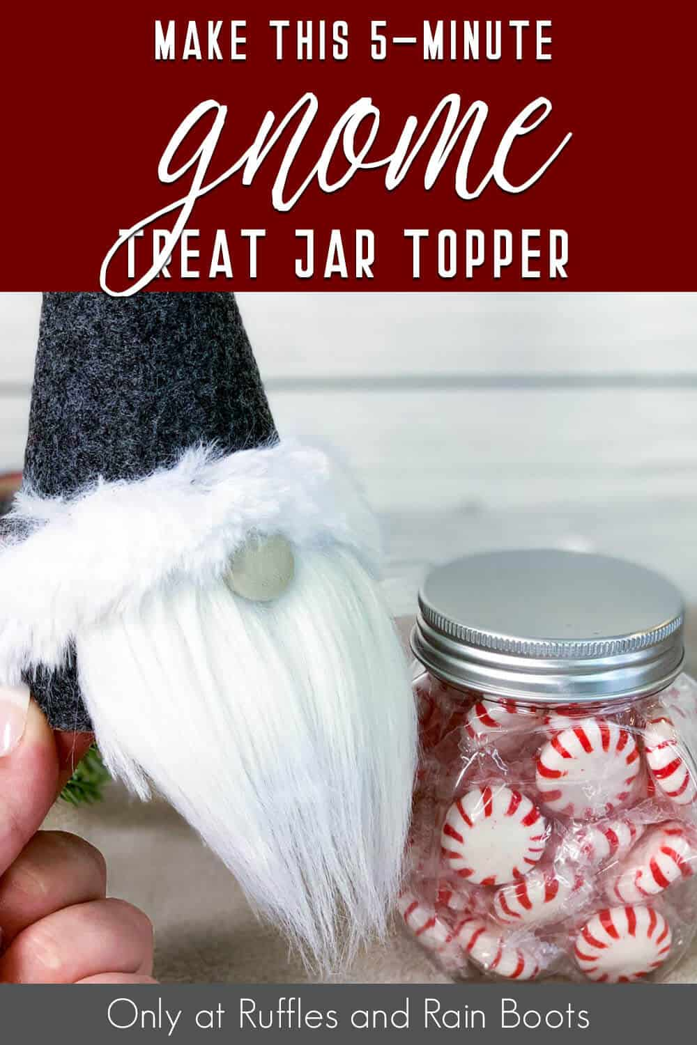 easy gnome candy jar lid craft with text which reads make this 5-minute gnome treat jar topper