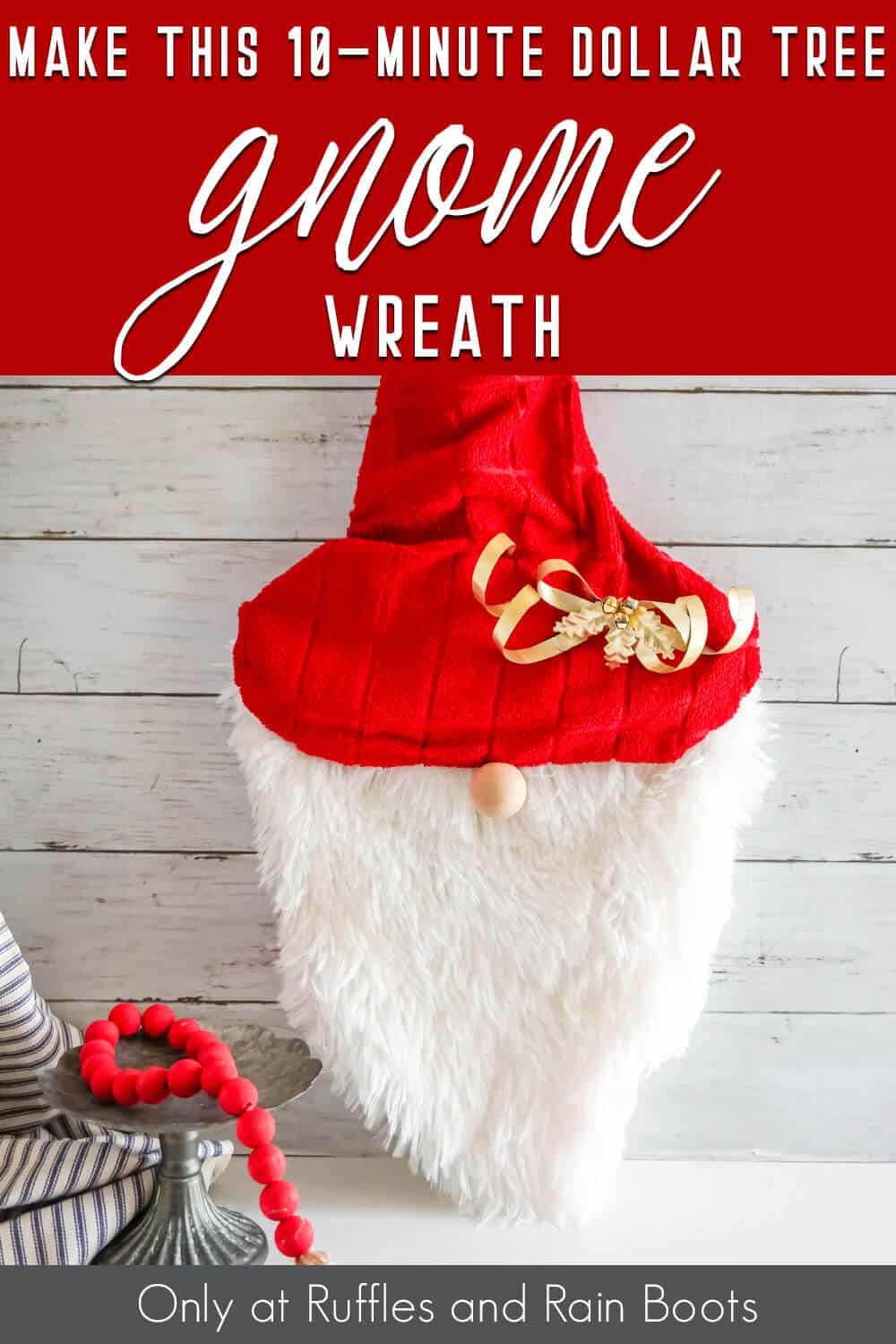 easy diy gnome wreath with text which reads make this 10-minute dollar tree gnome wreath