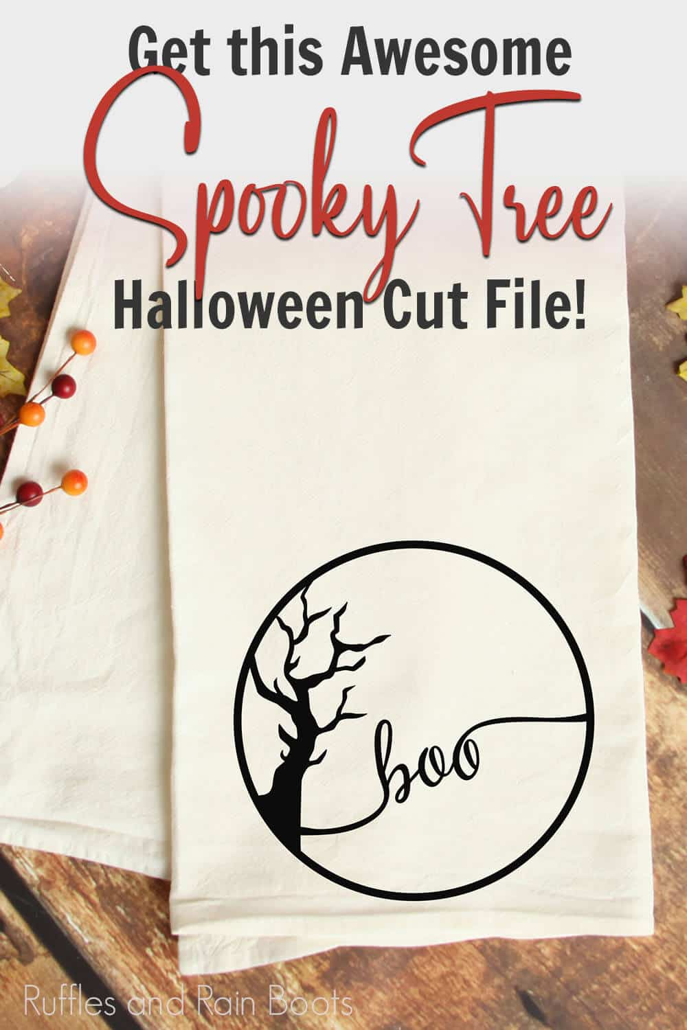 easy weed halloween cut file for ciricut or silhouette with text which reads get this awesome spooky tree halloween cut file!