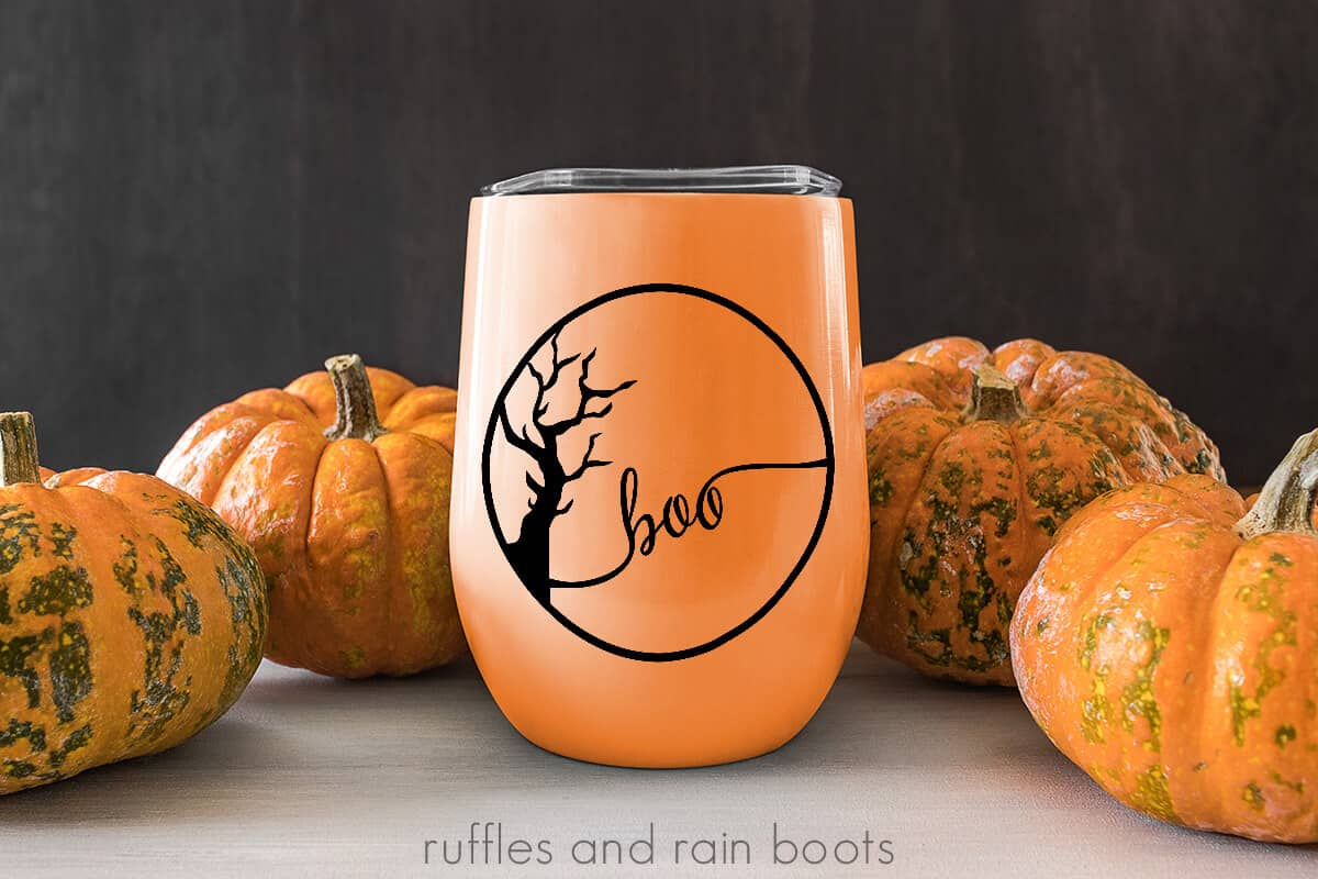 drink tumbler with the spooky tree svg cut file