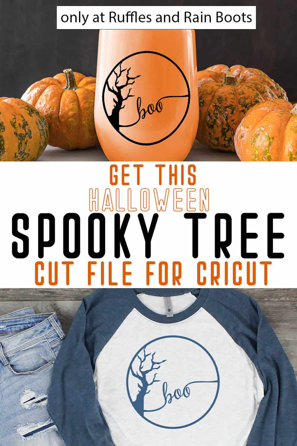photo collage of easy to weed cricut cut file for halloween with text which reads get this halloween spooky tree cut file for cricut