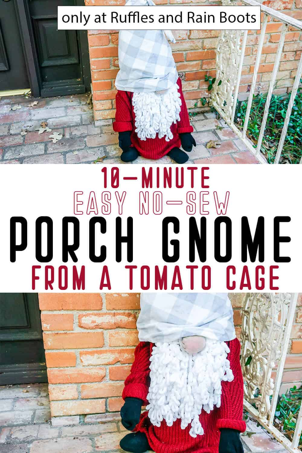photo collage of easy diy christmas gnome for the porch with text which reads 10-minute easy no-sew porch gnome from a tomato cage