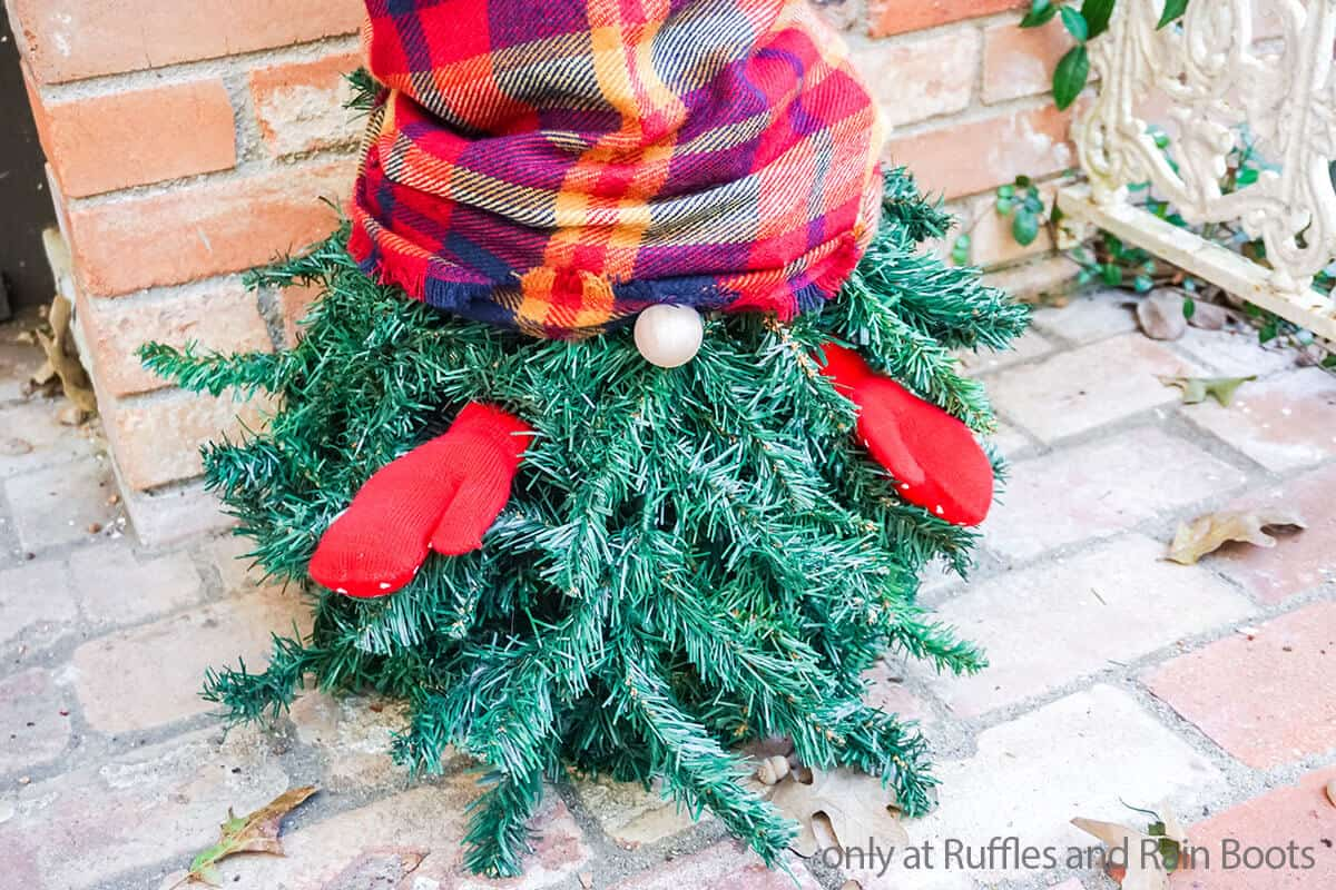 evergreen tree gnome for porch decoration