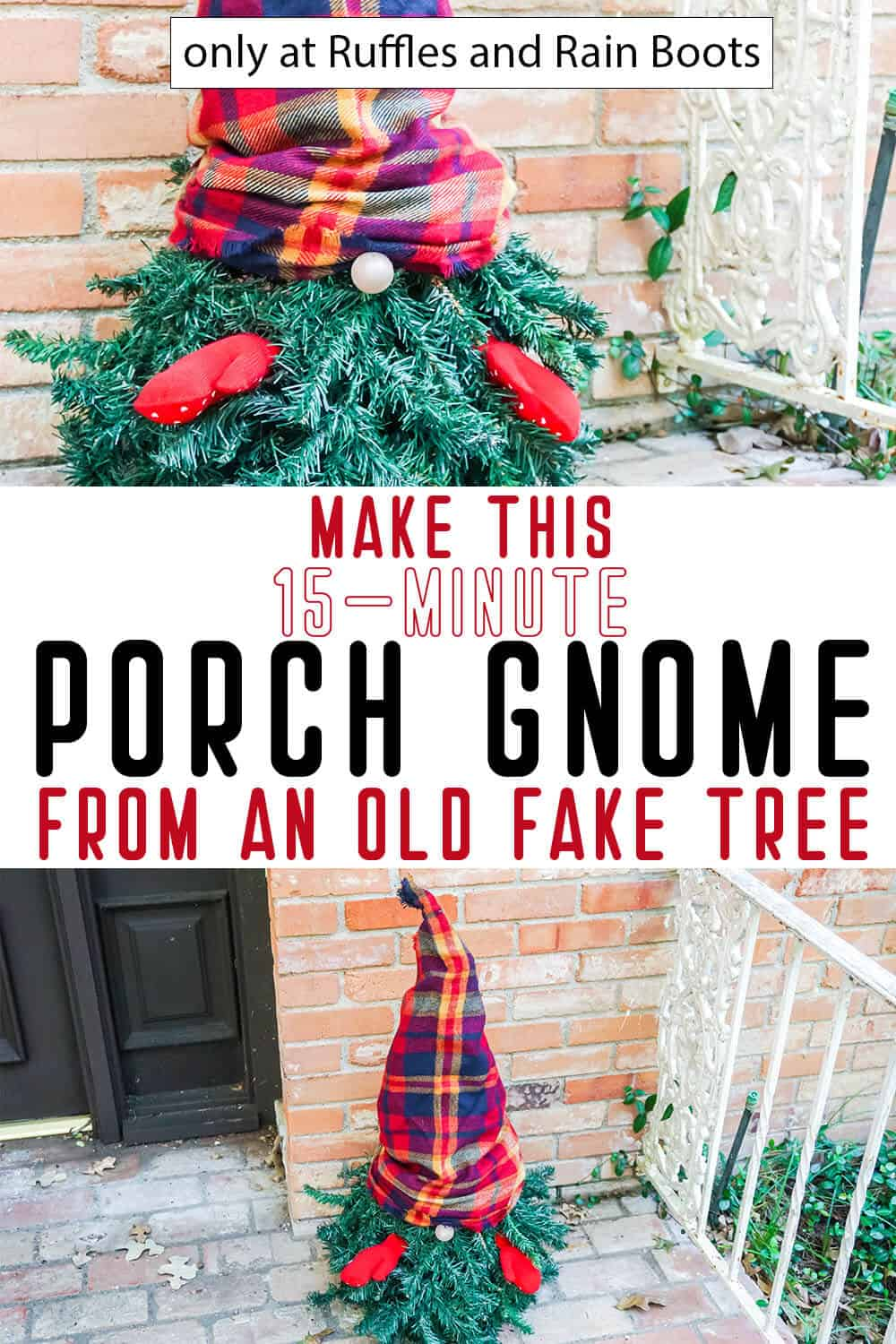 photo collage of easy gnome tutorial to make a christmas tree gnome with text which reads make this 15-minute porch gnome from an old fake tree