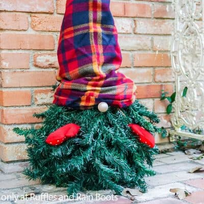 This Upcycled Christmas Tree Gnome is a Fun Porch Gnome for Winter!