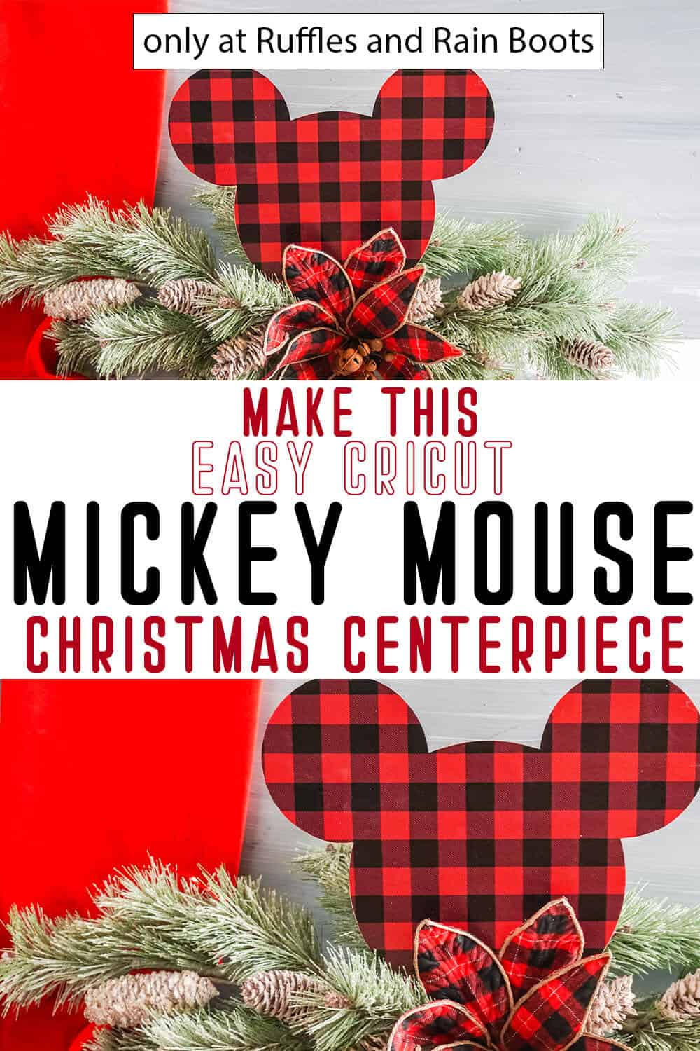 photo collage of easy farmhouse mickey centerpiece or swag craft with text which reads make this easy cricut mickey mouse christmas centerpiece