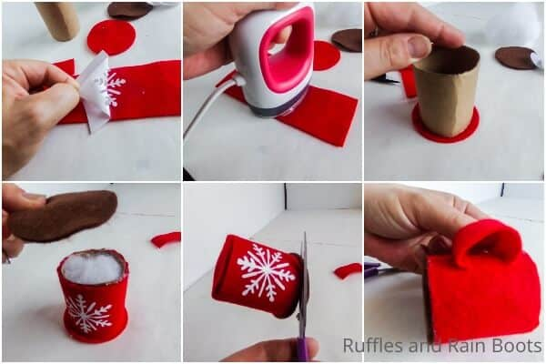 photo collage tutorial of how to make a hot cocoa ornament cricut craft