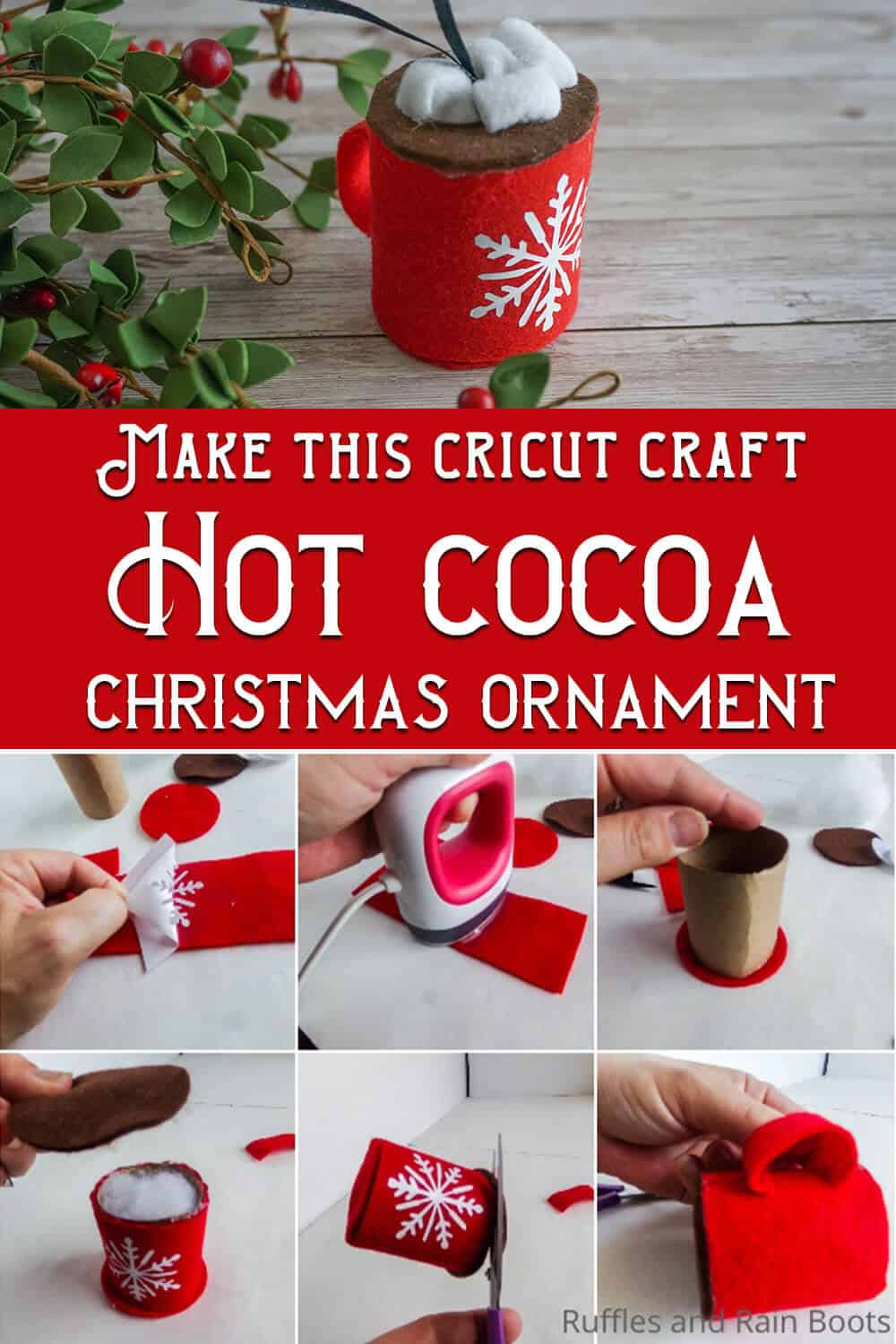 photo collage of Cricut Craft Hot Cocoa Chrismat Ornament with text which reads make this cricut craft hot cocoa christmas ornament