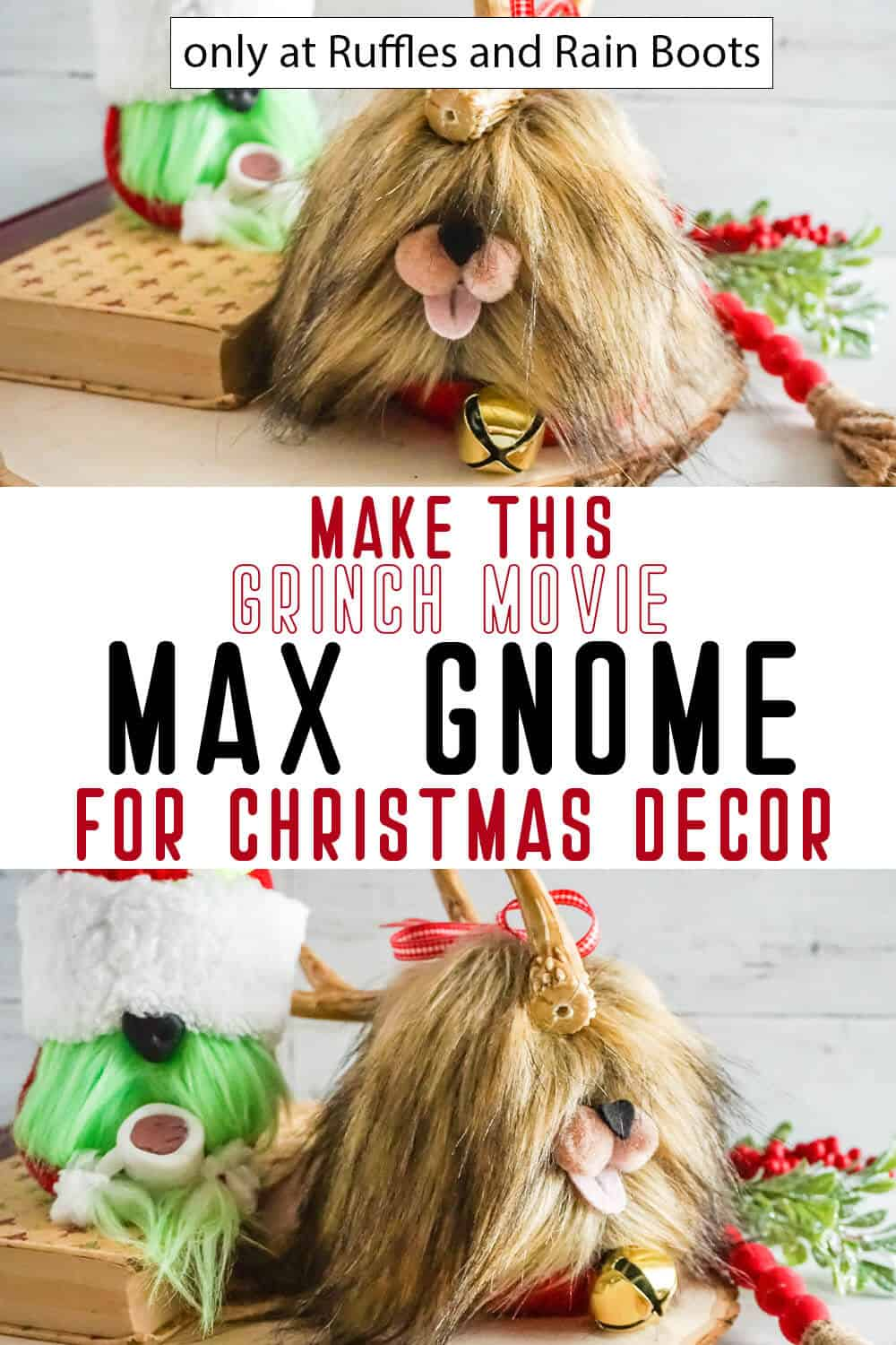 photo collage of easy max from the grinch gnome with text which reads make this grinch movie max gnome for christmas decor