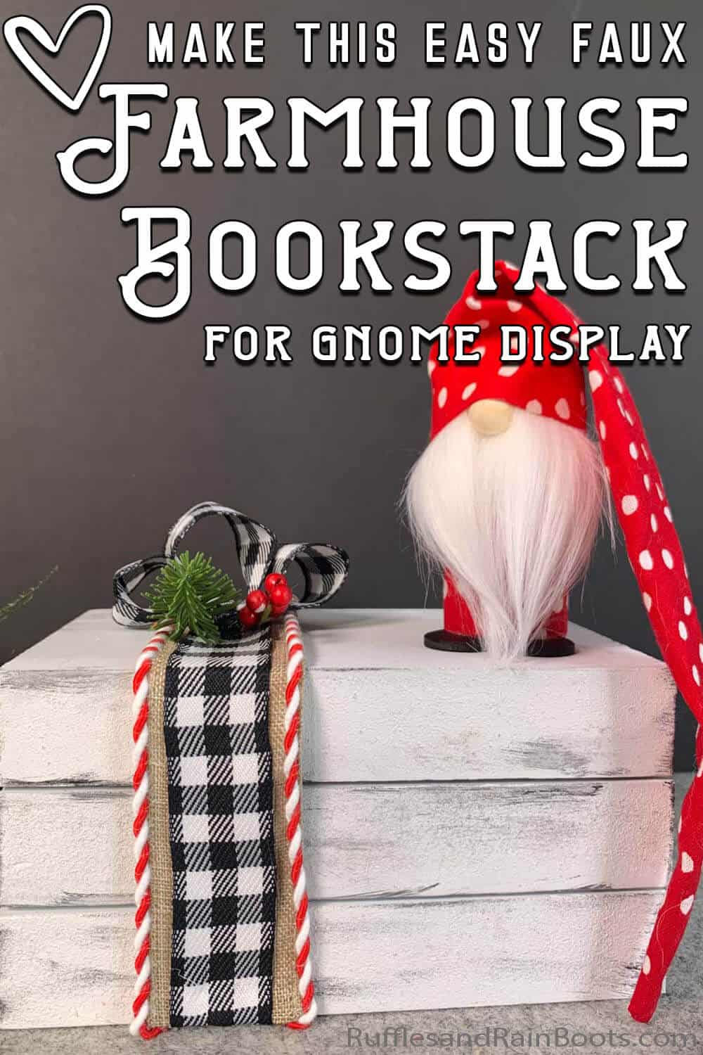 gnome shelf book stack craft with text which reads make this easy faux farmhouse bookstack for gnome display