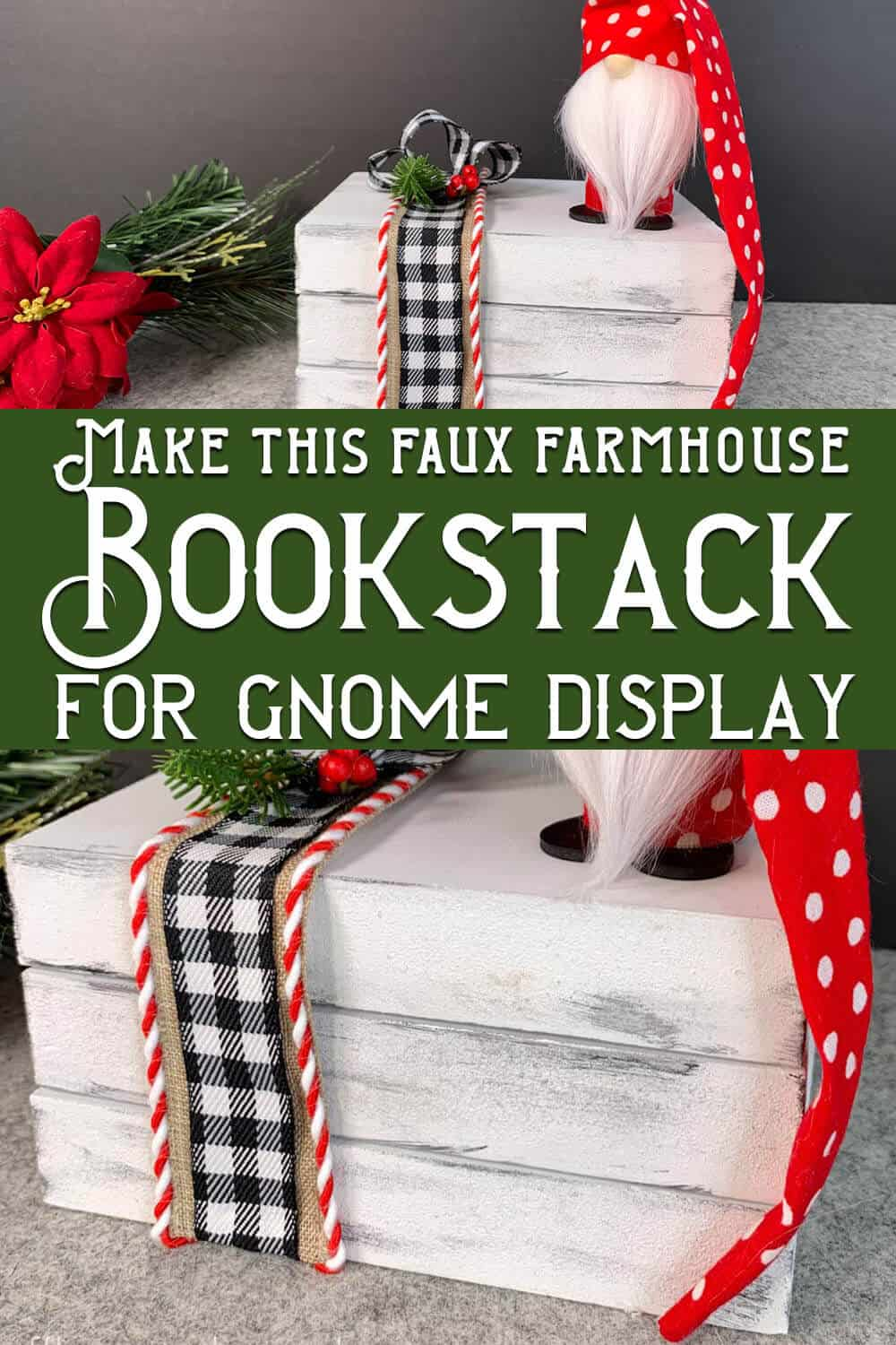 photo collage of fake book stack made of wood with text which reads make this faux farmhouse bookstack for gnome display