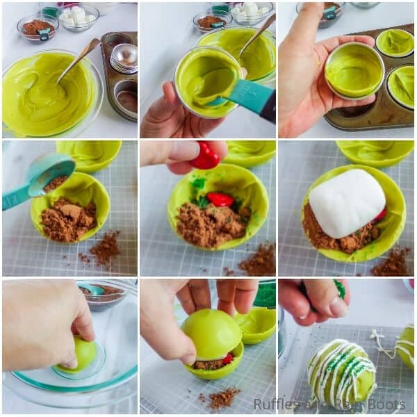 photo collage tutorial of how to make grinch hot cocoa bombs