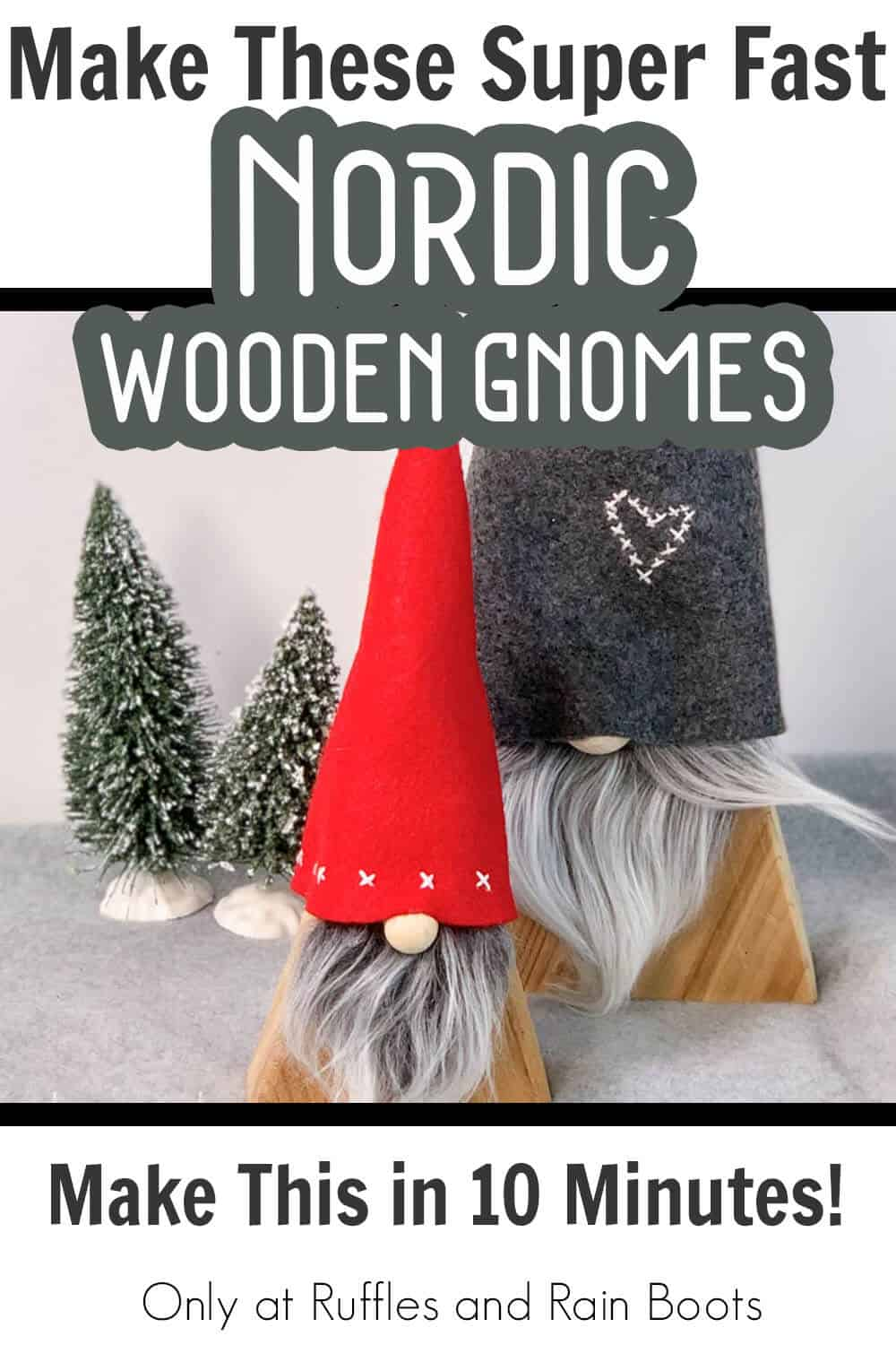 nordic style wood gnomes for farmhouse decor with text which reads make these super fast nordic wooden gnomes make this in 15 minutes!