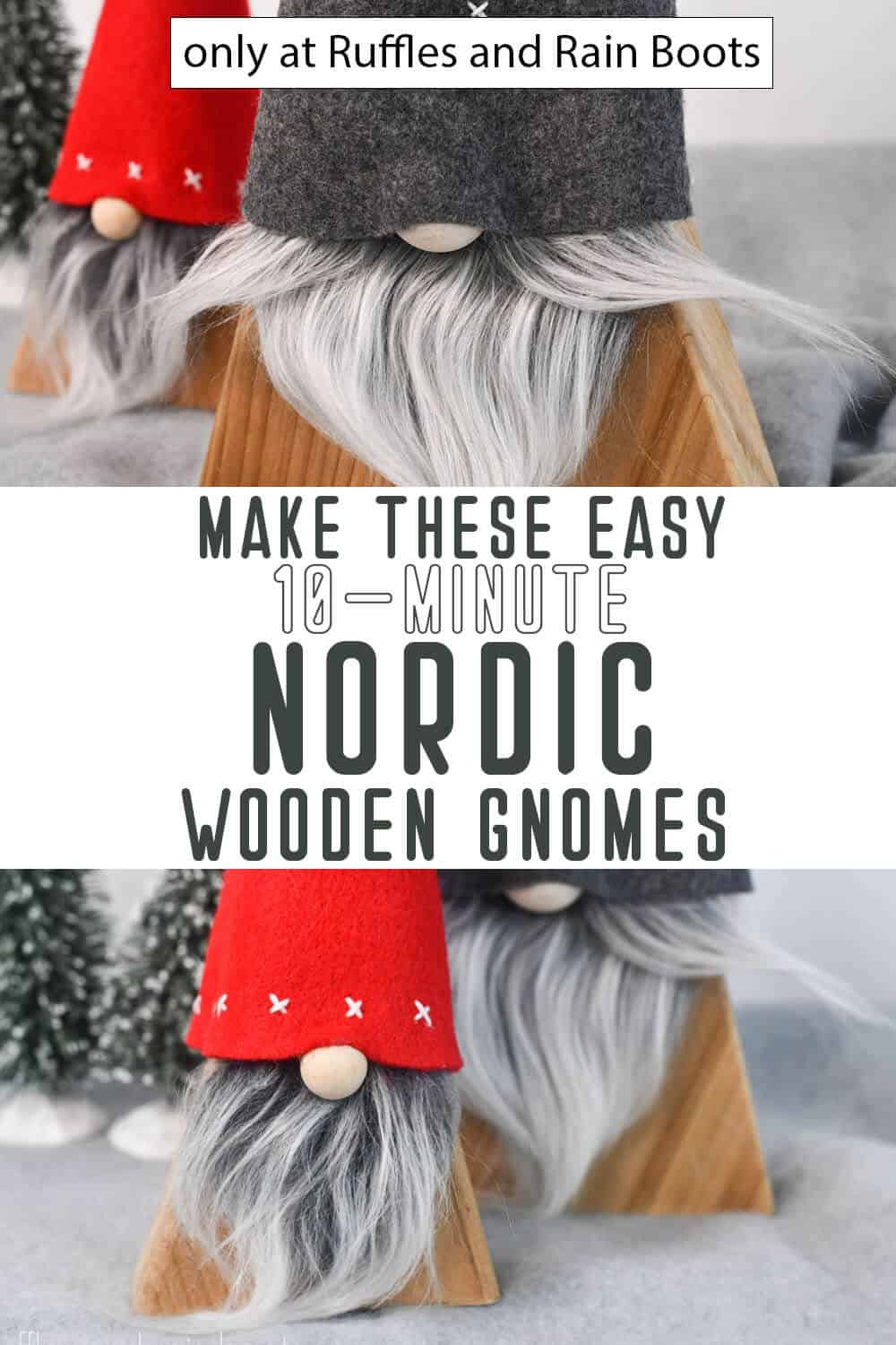 photo collage of diy nordic gnomes from wood with text which reads make these easy 10-minute nordic wooden gnomes