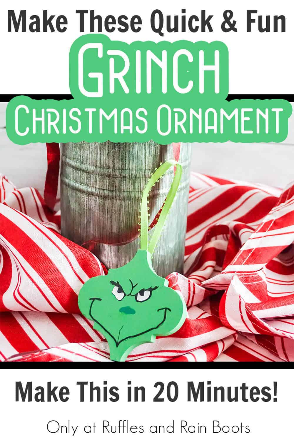 tile grinch head ornament cricut craft with text which reads make these quick & fun grinch christmas ornaments make this in 20 minutes!