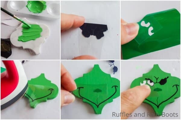 photo collage tutorial of how to make a tile grinch ornament