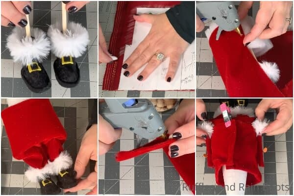 photo collage tutorial of how to make a santa gnome