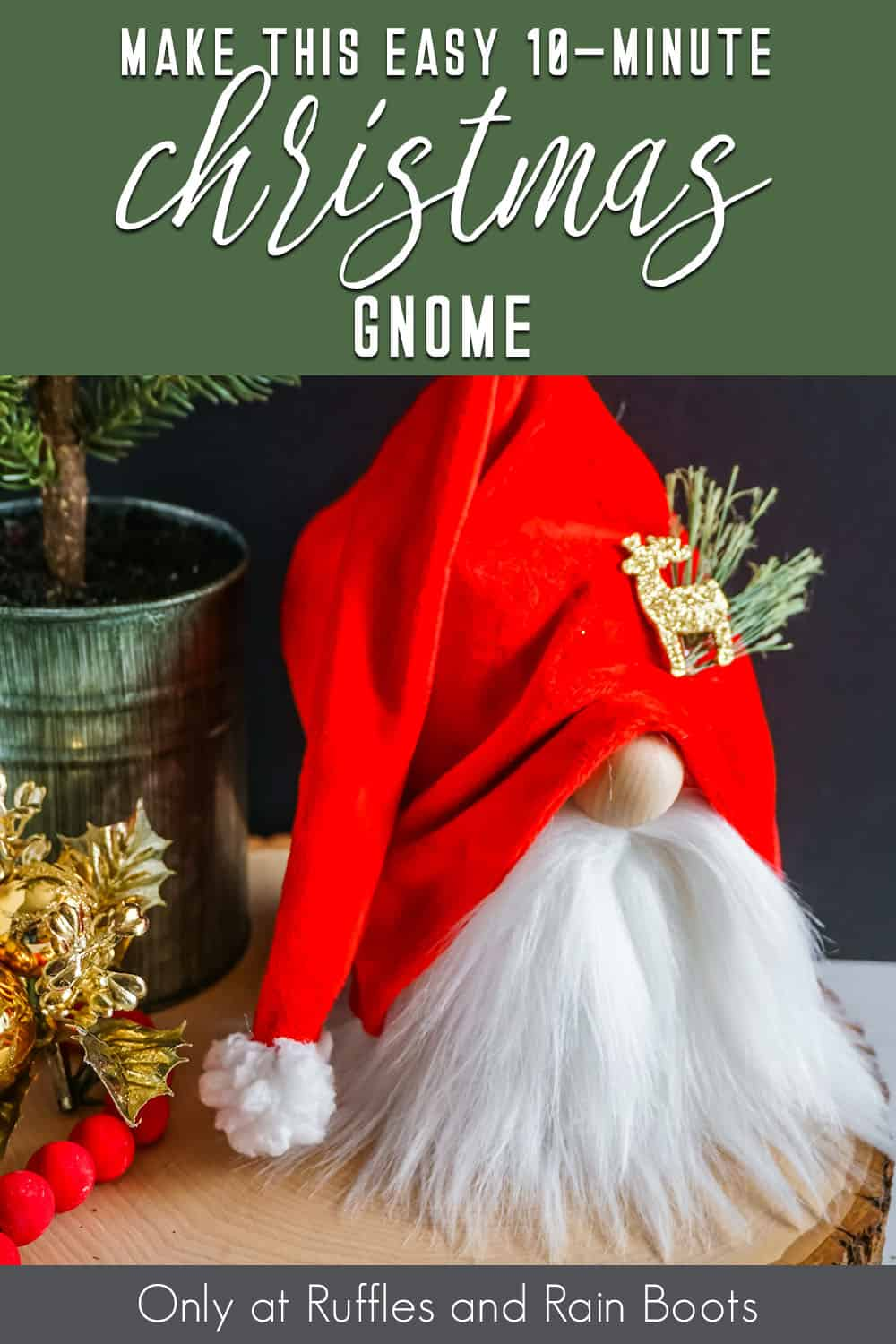 beginner diy christmas gnome with text which reads make this easy 10-minute christmas gnome