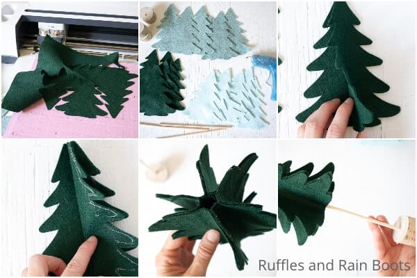 photo collage tutorial of how to make a DIY scandinavian christmas tree