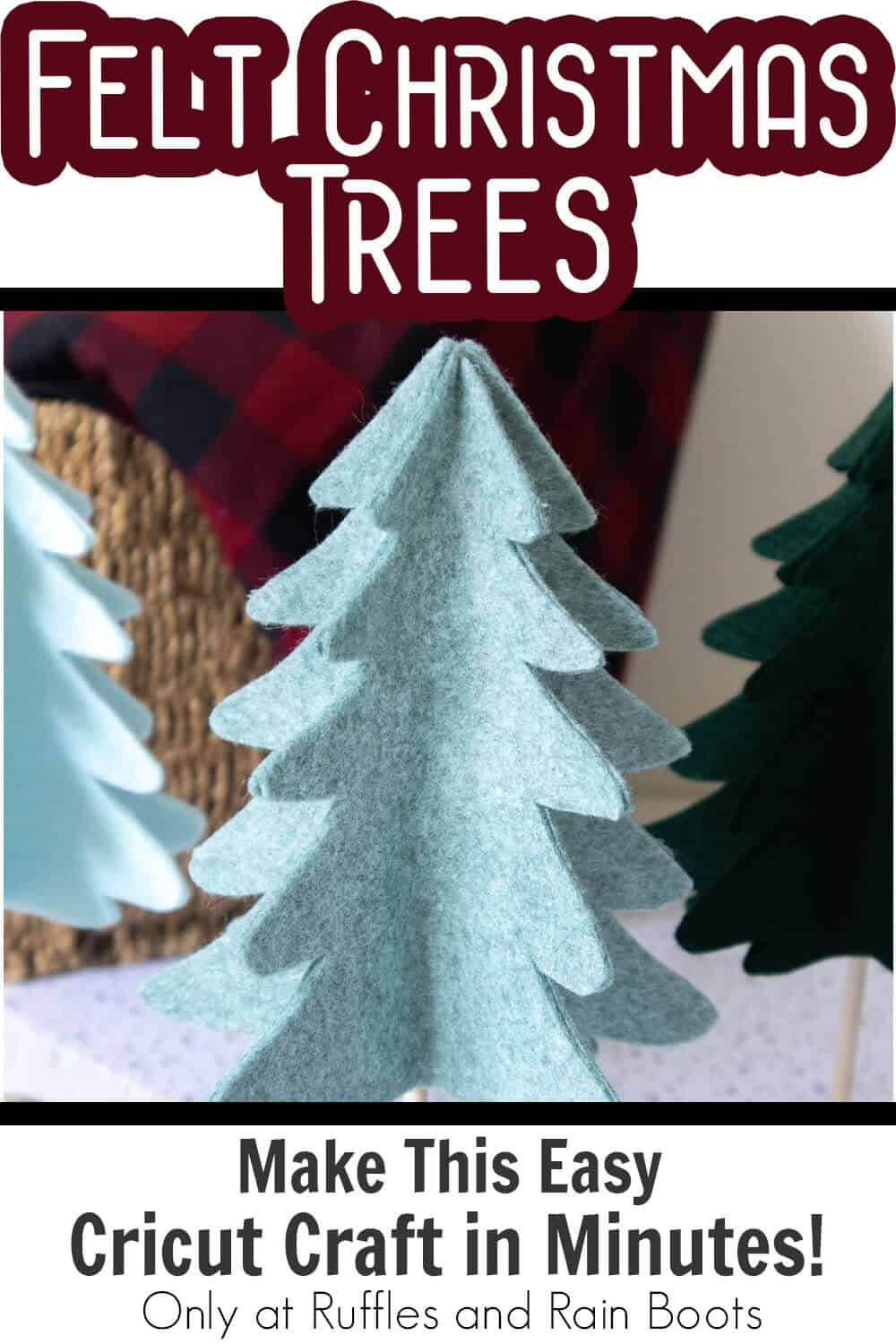 diy scandinavian christmas trees felt with text which reads felt christmas tres make this easy cricut craft in minutes!