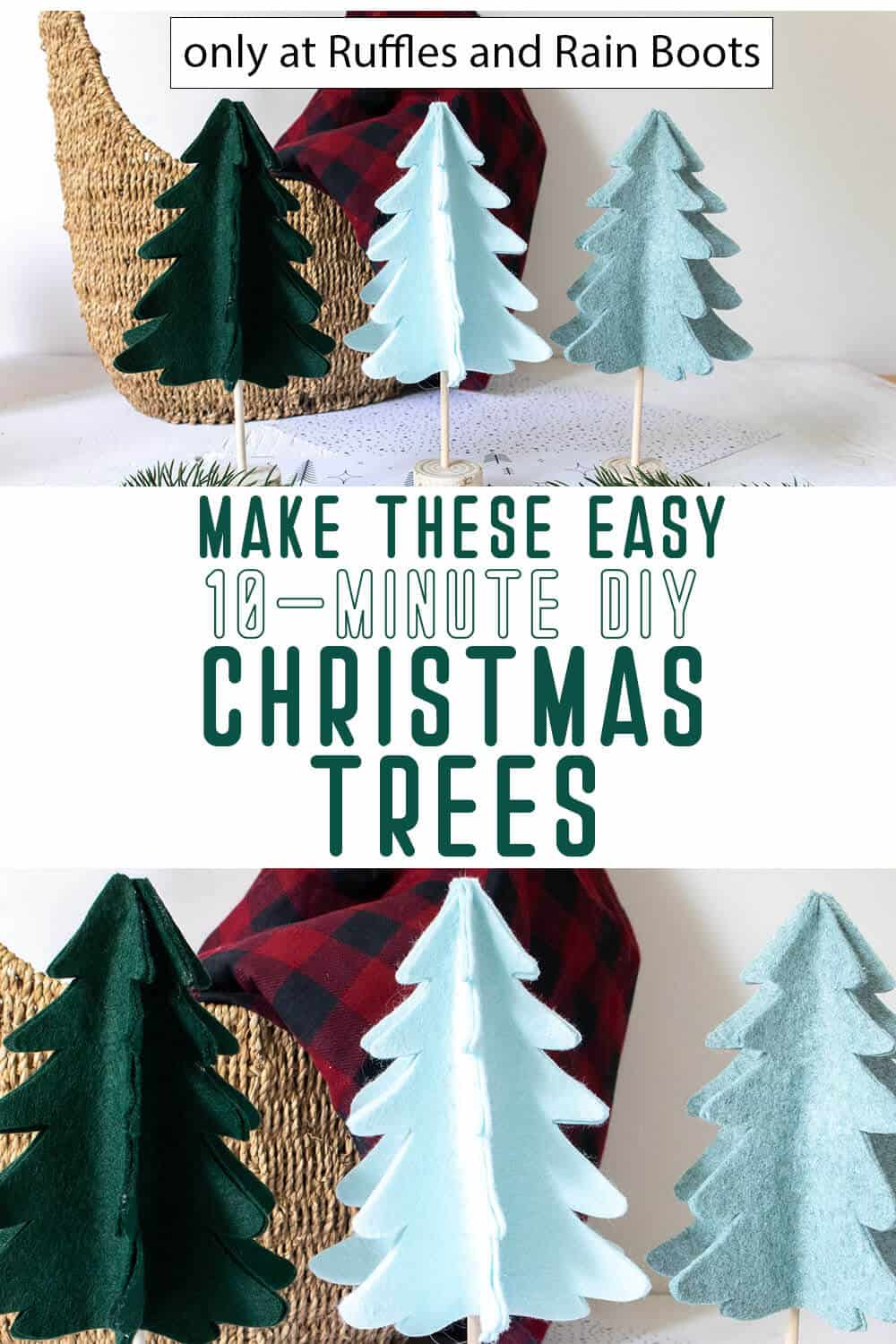 photo collage of scandinavian christmas decor christmas trees with text which reads make these easy 10-minute diy christmas trees