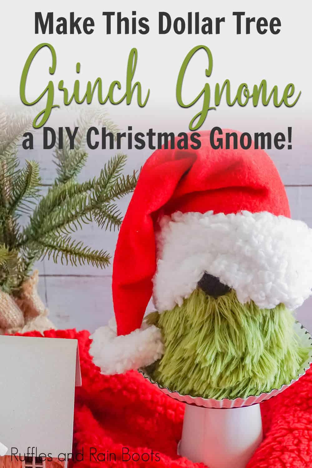 dollar store grinch gnome craft with text which reads make this dollar tree grinch gnome a diy christmas gnome!