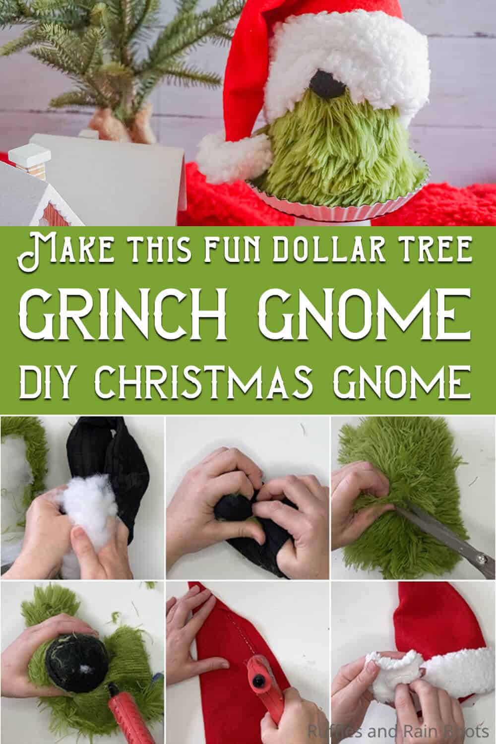 photo collage of easy diy sock gnome grinch with text which reads make this fun dollar tree grinch gnome diy christmas gnome