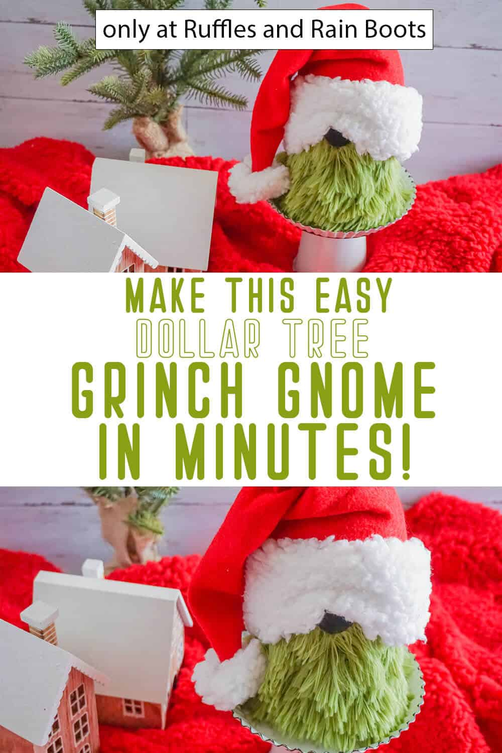 photo collage of dollar tree gnome diy for christmas with text which reads make this easy dollar tree grinch gnome in minutes!