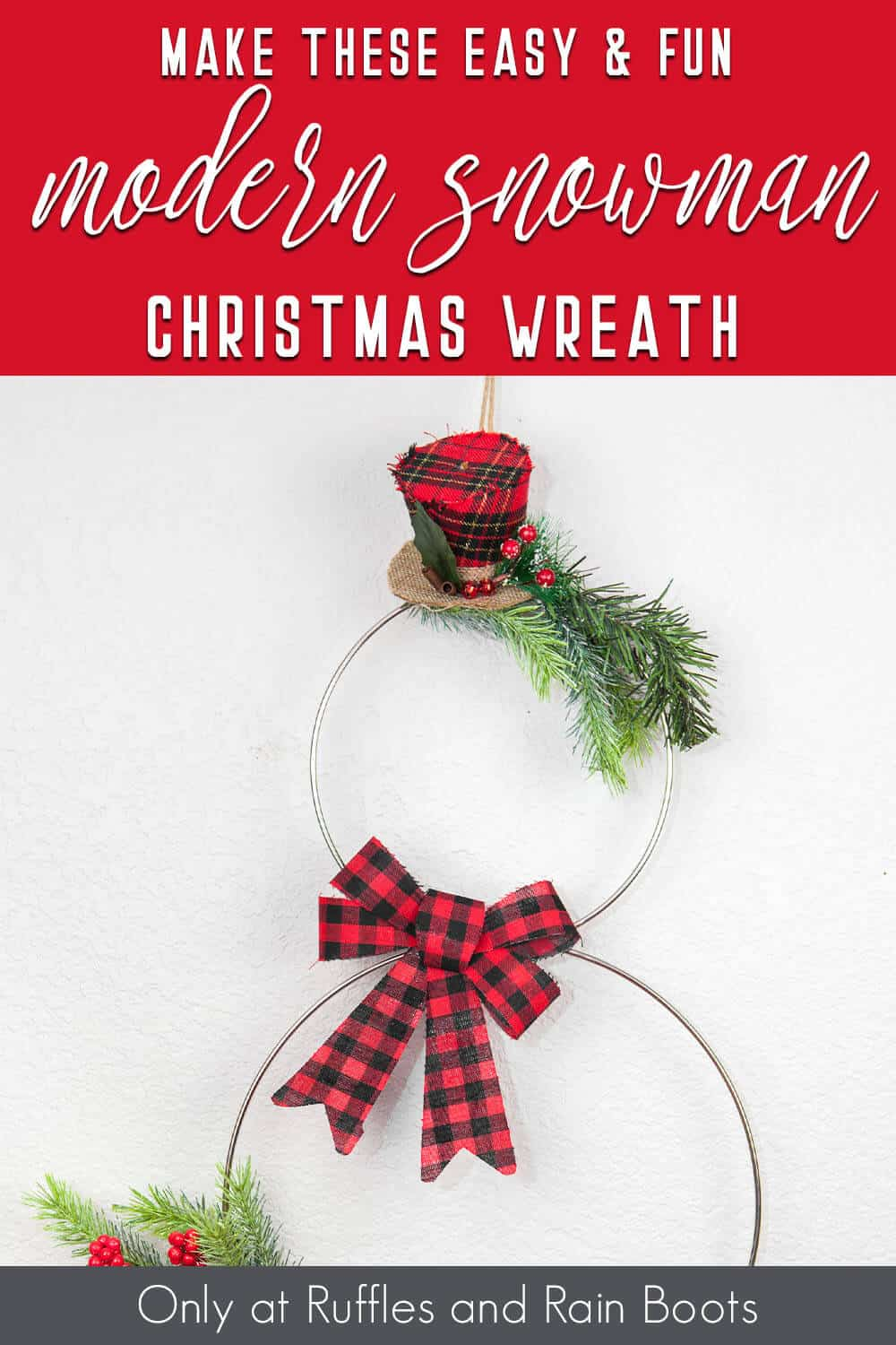 modern holiday wreath snowman with text which reads make this easy & fun modern snowman christmas wreath