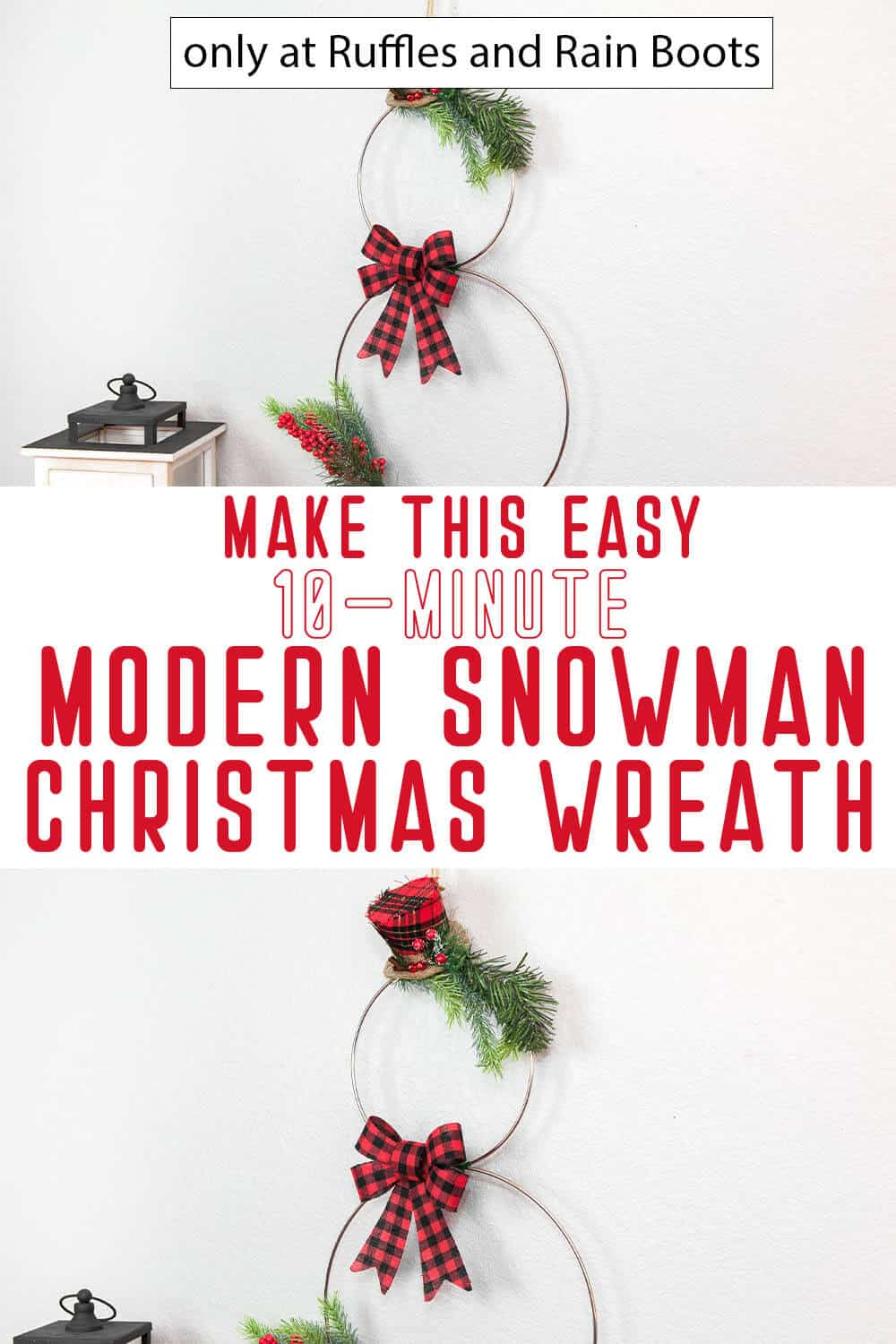photo collage of modern christmas wreath snowman with text which reads make this easy 10-minute modern snowman christmas wreath