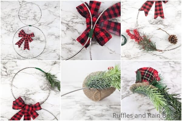 photo collage tutorial of how to make a snowman wreath