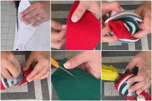 photo collage tutorial of how to make a beginner sock gnome with a cone