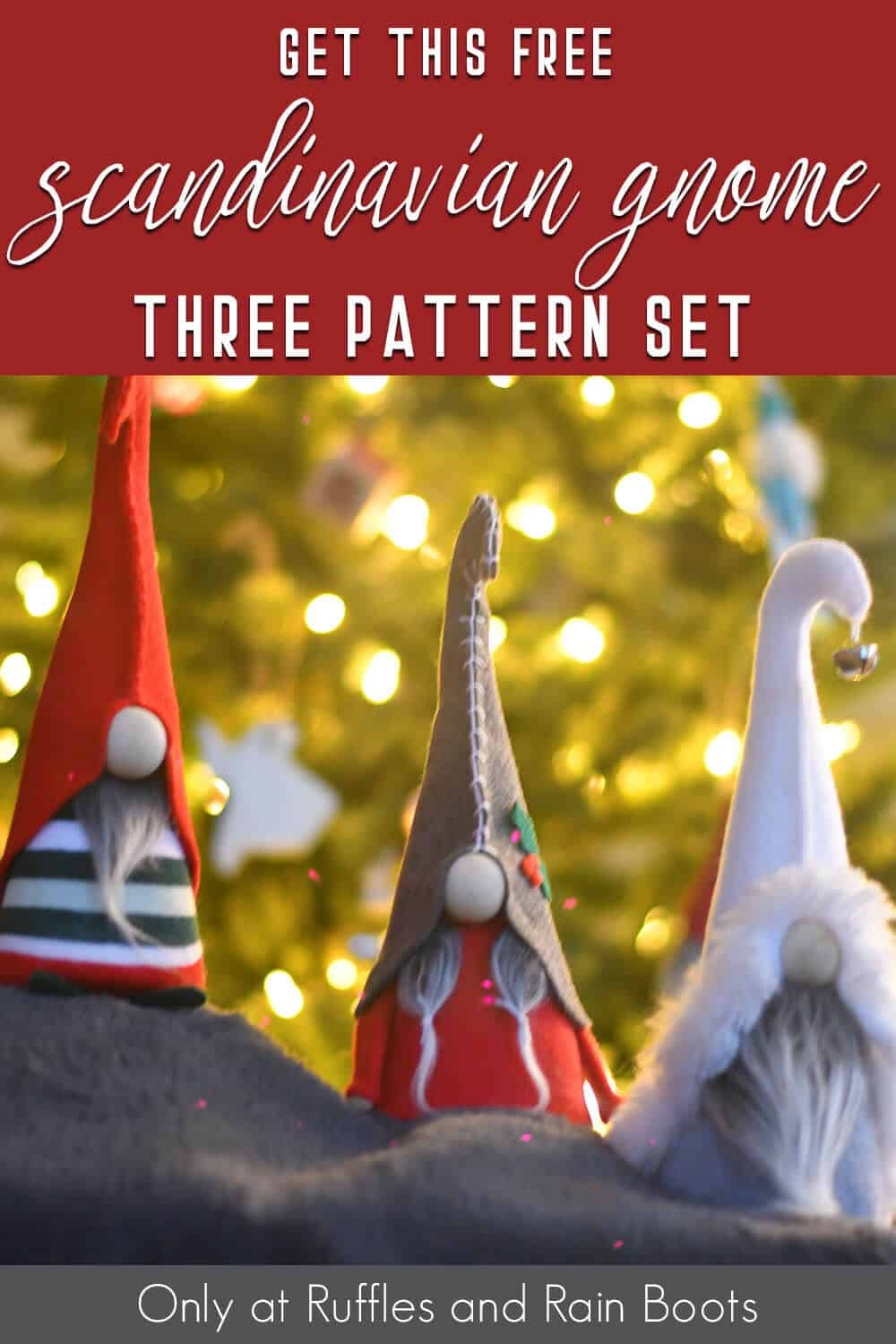 free gnome pattern for scandinavian gnomes with text which reads get this free scandinavian gnome three pattern set