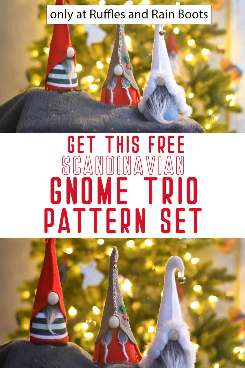 photo collage of free gnome pattern to make felt gnomes with curled hats with text which reads get this free scandinavian gnome trio pattern set