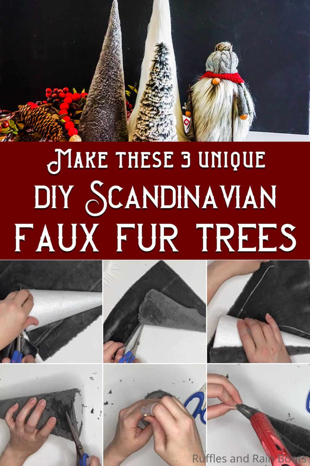 photo collage of scandinavian christmas trees diy with text which reads make these 3 unique diy scandinavian faux fur trees
