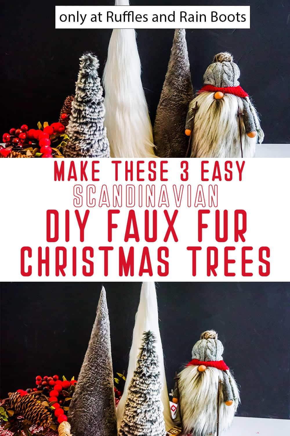photo collage of diy fur trees for christmas with text which reads make these 3 easy scandinavian diy faux fur christmas trees