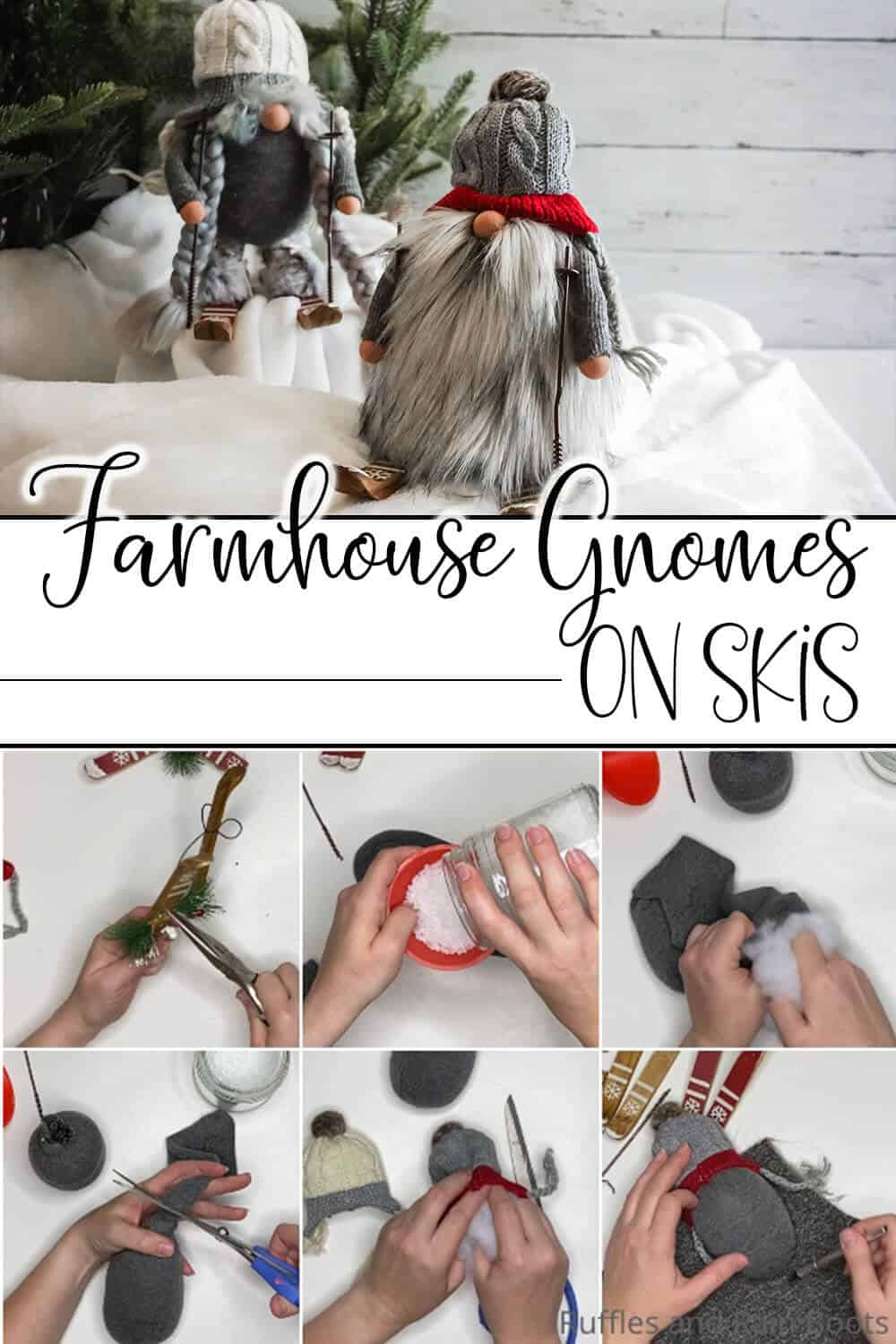 photo collage of farmhouse gnomes on skis with text which reads farmhouse gnomes on skis