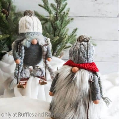 Make These Easy Farmhouse Gnomes with Skis in 10 Minutes!