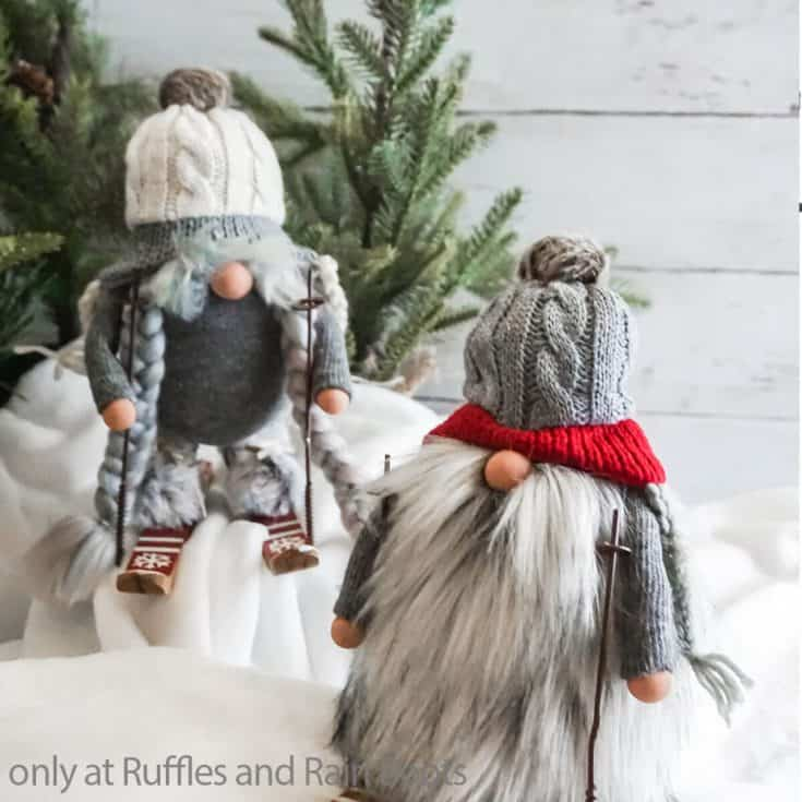 easy diy farmhouse gnomes with skis