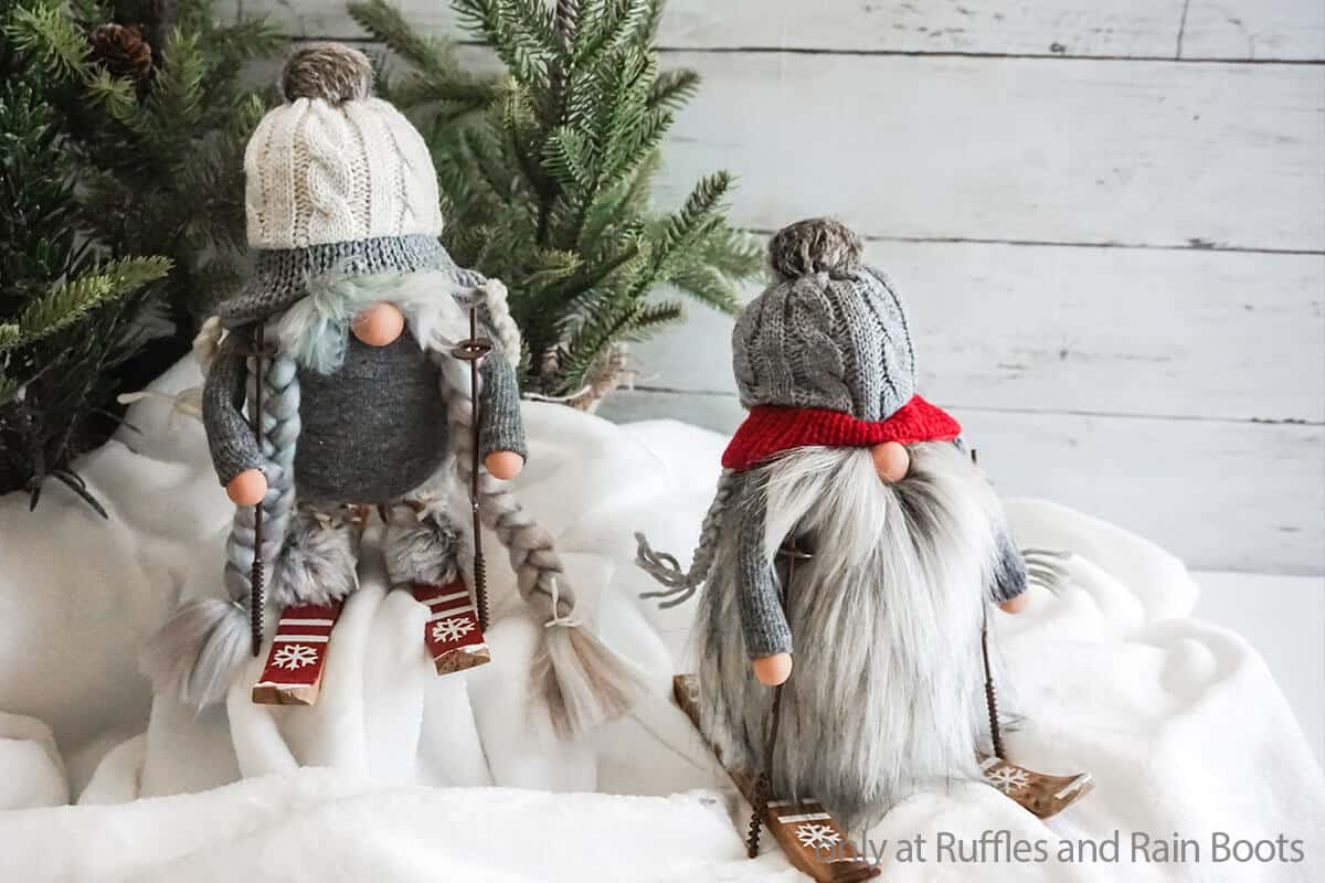 diy christmas gnomes with skis